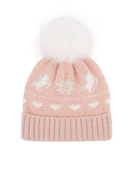 monsoon-girlsnbspcharlotte-unicorn-fairisle-hat-pale-pink