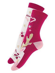 monsoon-girls-2-pack-festive-reinicorn-socks-red