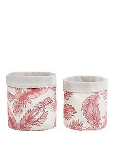 set-2-pink-palms-fabric-baskets
