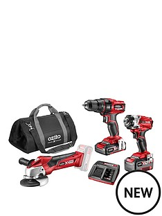 ozito-ozito-by-einhell-3-piece-cordless-drill-grinder-set-drill-impact-angle-grinder-2-batteries