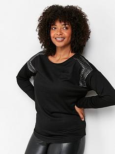 wallis-stud-shoulder-cut-and-sew-top-black