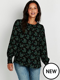 wallis-green-fan-floral-top-black