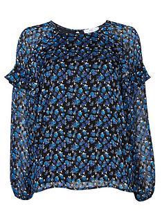 wallis-ditsy-dobby-blouse-bluenbsp