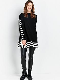 wallis-stripe-tipped-poncho-black