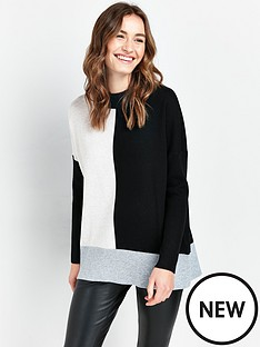 wallis-compact-colour-block-rib-jumper-black