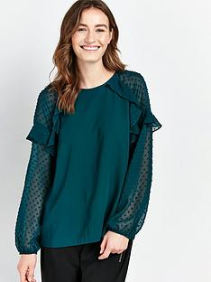 wallis-plain-dobby-mix-top-green