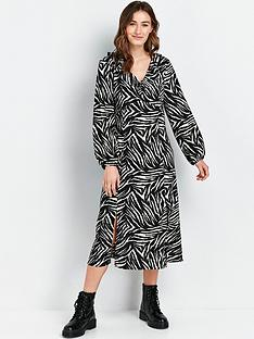 wallis-zebra-print-midi-dress-black