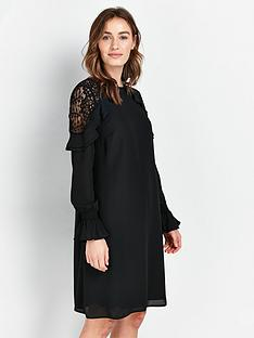 wallis-lace-insert-ruffle-dress-black