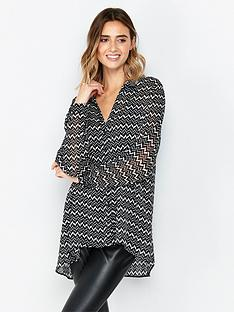 wallis-mono-aztec-lurex-shirt-blackwhite