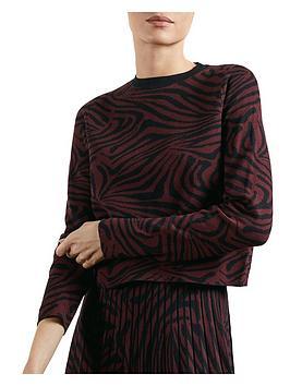 ted-baker-zebra-jacquard-sweater-red
