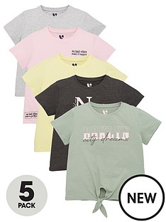 v-by-very-girls-5-pack-cities-tie-front-t-shirts-multi