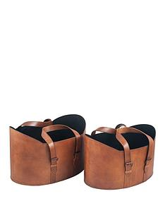 pacific-lifestyle-set-of-2-vintage-brown-leather-handled-storage