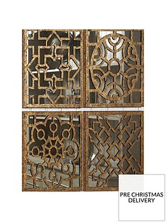 pacific-lifestyle-4-piece-square-antique-gold-metal-mirrored-wall-art