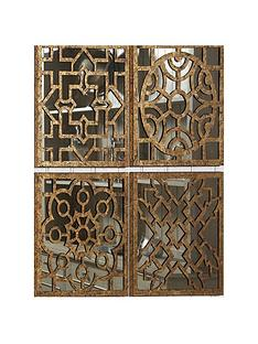 pacific-lifestyle-set-of-4-square-antique-gold-metal-mirrored-wall-art