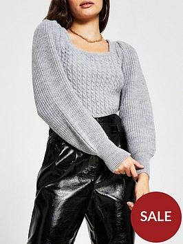 river-island-bow-back-knitted-jumper-grey