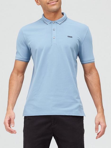 hugo-dinoso-tipped-collar-polo-shirt-medium-blue