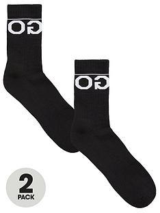 hugo-bodywear-2-pack-logo-sports-socks-black