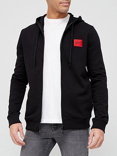 hugo-dapele-212-red-patch-logo-zip-through-hoodie-black