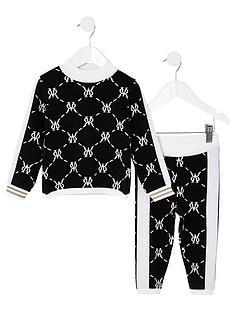 river-island-mini-girls-knitted-jumper-and-legging-setnbsp--black