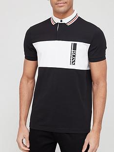 boss-one-story-pavel-colour-block-logo-polo-shirt-black