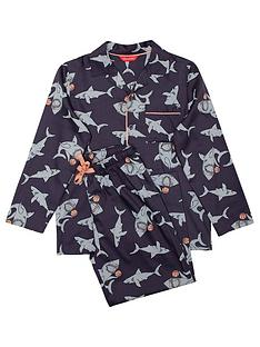minijammies-boys-thomas-shark-print-long-sleeve-pyjama-set-navy