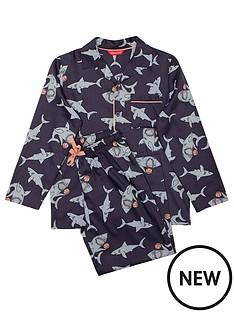 minijammies-boys-thomas-shark-print-long-sleeve-pyjama-set-navy