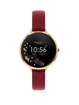 radley-series-3-smart-watch-with-gold-dog-print-screen-and-dark-red-strap-ladies-watch