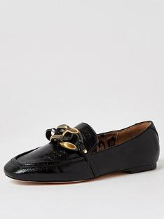 river-island-wide-fit-oversized-chain-loafers-black