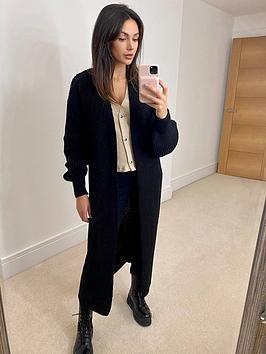 michelle-keegan-cable-knit-longline-lounge-cardigan-black