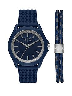 armani-exchange-blue-dial-blue-silicone-strap-mens-watch-and-matching-wristwear-gift-set