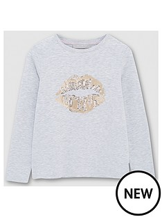 mintie-by-mint-velvet-girls-sequined-lips-long-sleeve-t-shirt-grey