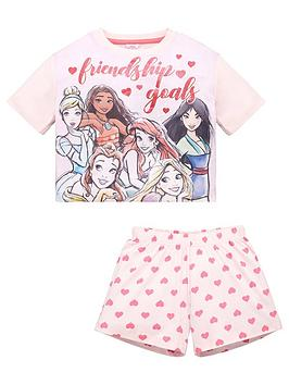 disney-princess-girls-friendship-goals-glitter-print-shorty-pjs-pink