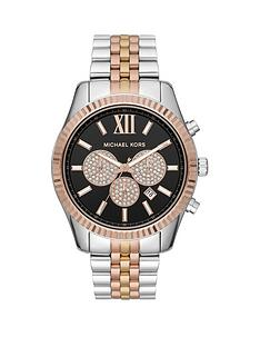 michael-kors-lexingtonnbspblack-and-rose-gold-glitz-chronograph-dial-two-tone-stainless-steel-bracelet-ladies-watch