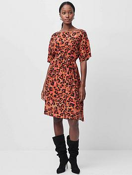 french-connection-baya-drape-ss-tie-wst-dress-leopard