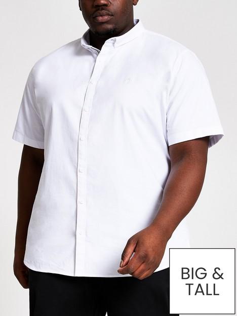 river-island-big-amp-tallnbspshort-sleeve-oxford-shirt-white