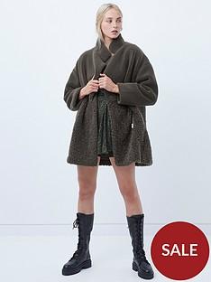 french-connection-irenea-faux-fur-zip-through-coat-khaki