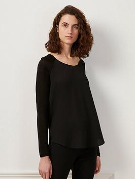 french-connection-polly-plain-long-sleeve-top-black