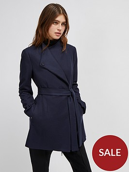 french-connection-felt-crossover-coat-navy