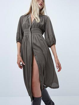 french-connection-cora-pleated-dress-grey
