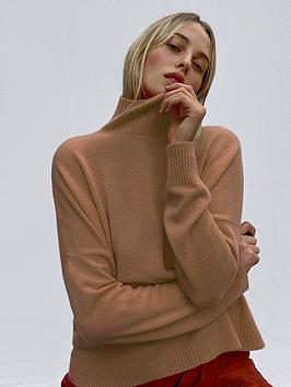 french-connection-cashmere-blend-ls-high-neck-jumper-camel