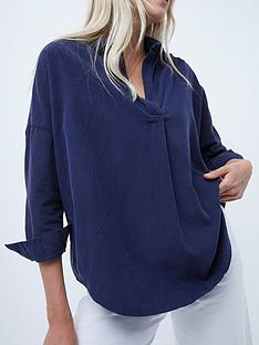 french-connection-vino-micro-cord-popover-shirt-navy