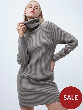french-connection-katerina-roll-neck-jumper-dress-grey