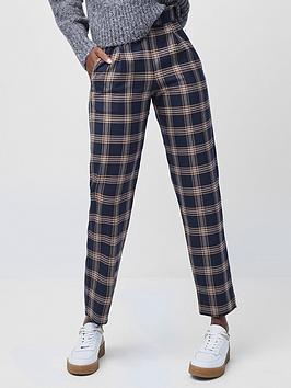 french-connection-evetta-check-tapered-trousers-blue