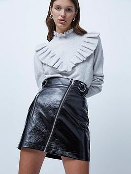 french-connection-dia-pu-zip-mini-skirt