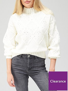 river-island-premium-embellished-knitted-jumper-cream
