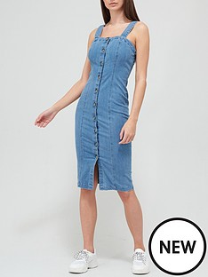 v-by-very-strappy-button-through-bodycon-denim-dress-mid-wash