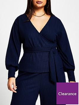 ri-plus-bardot-cosy-wrap-top-dark-blue