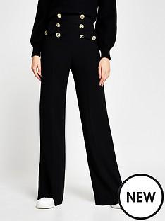 river-island-button-detail-wide-leg-trouser-black