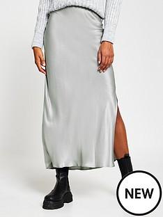river-island-metallic-bias-cut-satin-asymmetric-skirt-silver