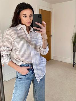 michelle-keegan-soft-causal-stripe-shirt-stripe